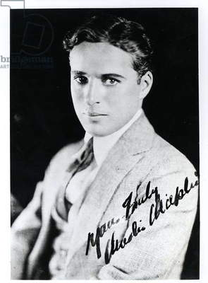 Autograph portrait of Charlie Chaplin (1889-1977) (b/w photo)