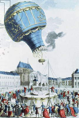 Ascent of the Montgolfier brothers hot-air balloon before the royal family at Versailles in 1783 (colour engraving)