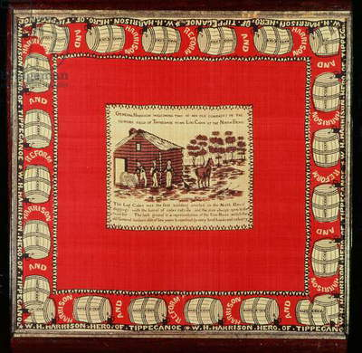 William Henry Harrison welcomes two old comrades at Log Cabin, 1840 (silk)