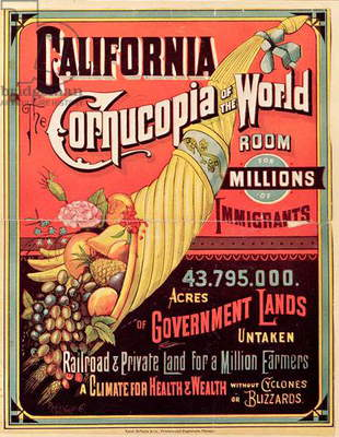 California, Cornucopia of the World, published by Rand McNally & Co., c.1870 (colour litho)