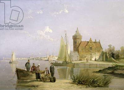 The House de Vraag, on the Amstel, Amsterdam (oil on board)