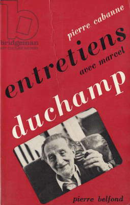 Front cover of 'Dialogues with Marcel Duchamp', by Pierre Cabanne, 1967 (colour litho)