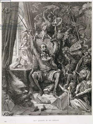 Don Quixote in his Library, engraved by Heliodore Joseph Pisan (1822-90) c.1868 (engraving)