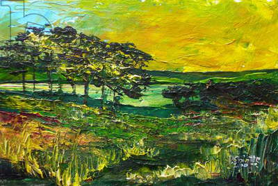 Vers L'Etang de Miragoane, 2010 (acrylic on wood)