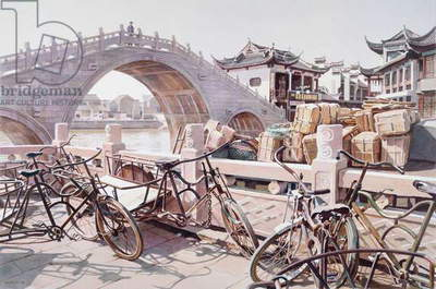 Ancient Bridge with Trishaws, Changzhou, 1994 (w/c on paper)