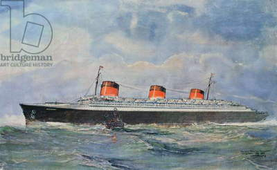 Maiden Voyage of the SS Normandie from Le Havre, 29 May, 1935 (colour lithograph)