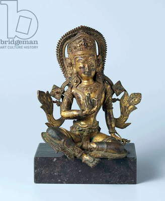 Nepal: Indra, the king of the gods, seated in the maharajalila-asana ('at royal ease') position. Bronze, 17th century