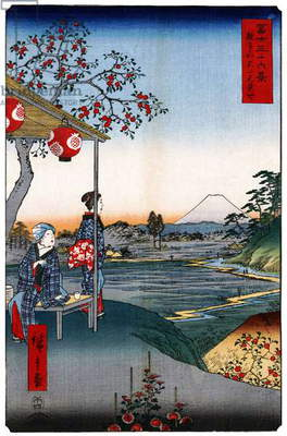 Japan: Teahouse with View of Mt. Fuji at Zoshigaya . Image 9 of '36 Views of Mount Fuji. Utagawa Hiroshige (portrait / vertical edition first published 1858)
