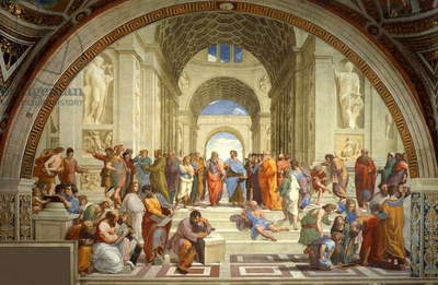 Italy: 'The School of Athens', featuring Greek philosophers headed by Plato and Aristotle. Raphael (1483 - 1520), painted between 1509–1511 (Apostolic Palace, Vatican City)