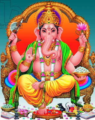 India: Ganesh Chaturthi or 'Ganesh Festival' image of the elephant-headed god Ganesh