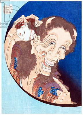 Japan: Laughing Demoness (Warai Hannya) with a child's head, from the series 'One Hundred Ghost Stories' (Hyaku monogatari). Katsushika Hokusai (1760-1849), 1831-32