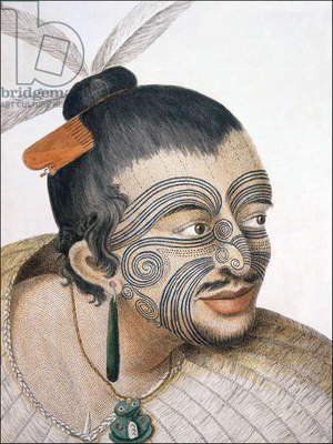 New Zealand: A Maori chief with facial moko tattoo, Sydney Parkinson, 1769