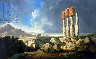 A View of the Monuments of Easter Island, Rapanui (Easter Island), 1775 (oil on panel)