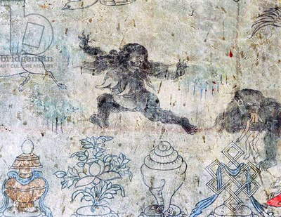 China / Tibet: Tibetan mural showing two 'migo' or yeti, one on the right consuming a human being, c. late 19th century