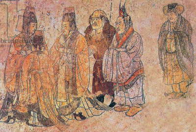 China: Qianling Tombs, Shaanxi; Foreign ambassadors at the Tang court. The two at the right are from Korea, the balding, long-nosed figure in the centre is a westerner. Mural from Li Xian's tomb.