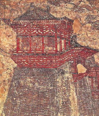 China: Qianling Tombs, Shaanxi; Early 8th century fresco in Prince Yide's tomb showing Chang'an's city walls with their gate and corner towers