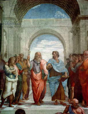 Aristotle and Plato: detail from the School of Athens in the Stanza della Segnatura, 1510-11 (fresco) (detail of 472)