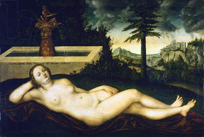 Nymph at Fountain, 1518, by Lucas Cranach the Elder (1472-1553), oil on wood, 59x92 cm,