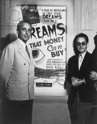 Hans Richter and Man Ray with a poster for 'Dreams that Money can Buy', c.1947 (gelatin silver print)
