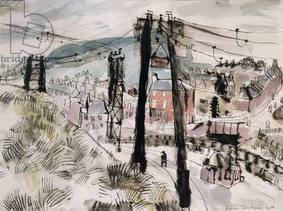Landscape with pylons, 1938 (w/c on paper)