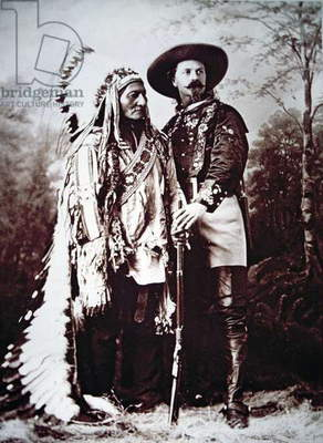 Chief Sitting Bull (1831-90) on tour with Buffalo Bill Cody (1846-1917) and his Wild West Show (b/w photo)