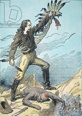Buffalo Bill Cody kills and scalps Chief Yellow Hand in a duel, illustration from 'Wild Life on the Plains', 1891 (colour litho)