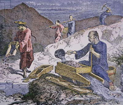 Chinese Immigrants working on the gold fields, 1849 (coloured engraving)