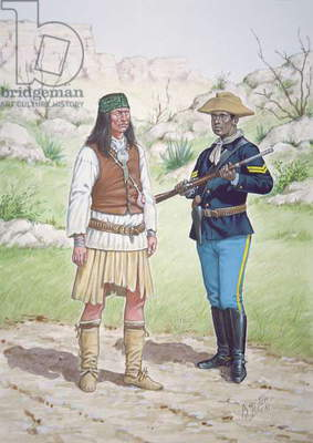 A Chiricahua Apache Warrior and a Corporal of 10th Regiment of US Cavalry in 1886, from a set of six tableaux, 1991 (colour litho)