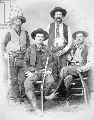 Texas Rangers armed with revolvers and Winchester rifles, 1890 (b/w photo)