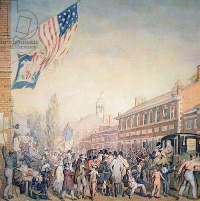 Voting in Philadelphia, 1816 (w/c on paper)