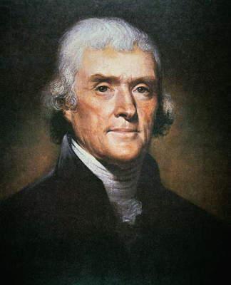 Thomas Jefferson (1743-1826) (colour litho)