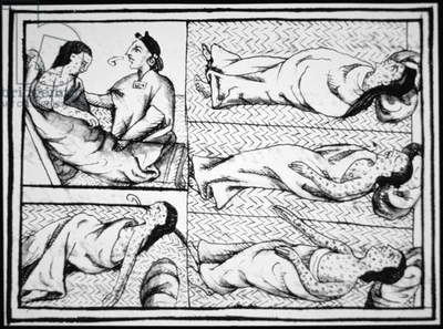 Native American Aztec people of Mexico dying of Small Pox introduced by the Spaniards, copied from the Codex Florentine, c.1540 (colour litho)