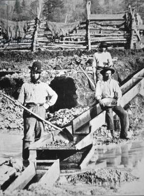 Irish prospectors washing for gold, 1849 (b/w photo)