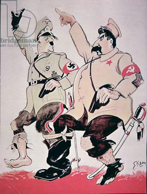 Cartoon depicting the uneasy alliance between Hitler and Stalin, 1939 (colour litho)