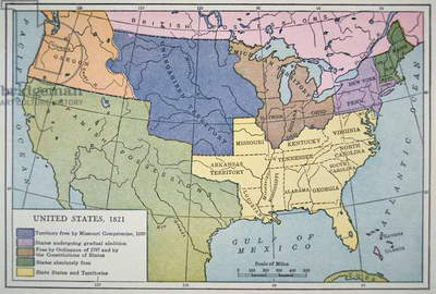 Map of the United States of America, depicting the slave states and free states, 1821 (colour litho)