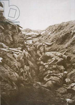 German dead in a trench at the Battle of Verdun, 1916 (b/w photo)