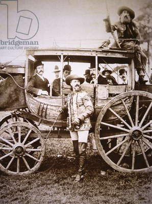 Buffalo Bill Cody (1846-1917) and his Deadwood coach (b/w photo)