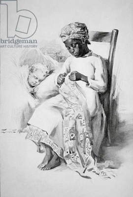 A black slave caring for a white child, 1898 (litho)