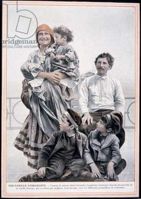 Poster of a European immigrant family on Ellis Island, 1910 (colour litho)