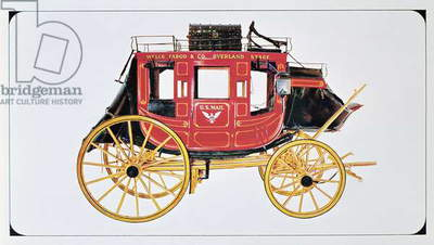 Concord Stagecoach used by Wells Fargo & Co. made in Concord, New Hampshire (colour litho)
