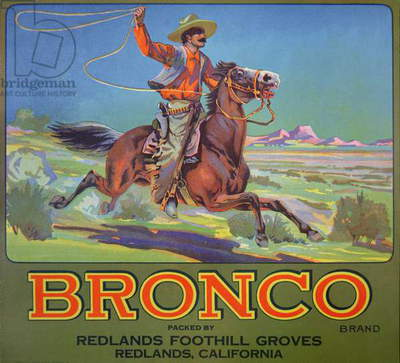 'Bronco Oranges', c.1900 (colour litho)