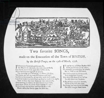 Two favourite songs, made on the evacuation of Boston by the British troops, on 17th March 1776 (engraving)