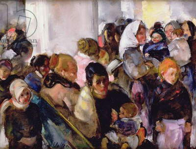 Crowded Detention Room, Ellis Island, 1922 (oil on board)