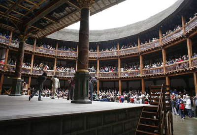 Shakespeare's Globe, Stage and seating, opened 1997, Southwark, London, UK(photo)