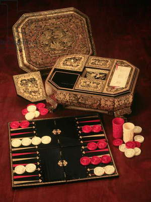 Antique backgammon set and boards (mixed media)
