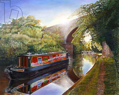 Kate Boat on the Grand Union Canal, 2001 (oil on canvas)