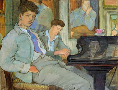 'How to compose a concerto and make money,' John and friend, Torquay, 1956 (oil on board)