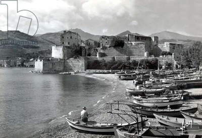Collioure, France: the harbour, Postcard, 1952