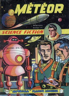 Cover of french magazine Meteor (august 1955) with science fiction cartoons