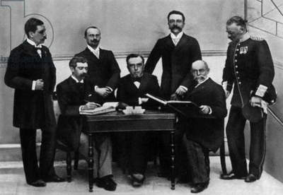 1st conference of organization of Olympic Games which will take place in Athens in 1896: 2nd from l is Baron Pierre de Coubertin